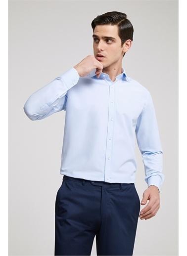 D'S Damat Ds Damat Slim Fit Beyaz Düz Gömlek Mavi